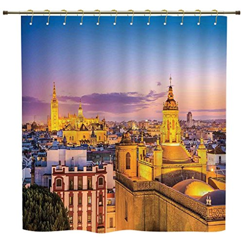 iPrint Shower Curtain,Cityscape,City Skyline in Spain Old Mediterranean Touristic Historic Nostalgic Print Home,Multi,Polyester Shower Curtains Bathroom Decor Sets with Hooks by iPrint