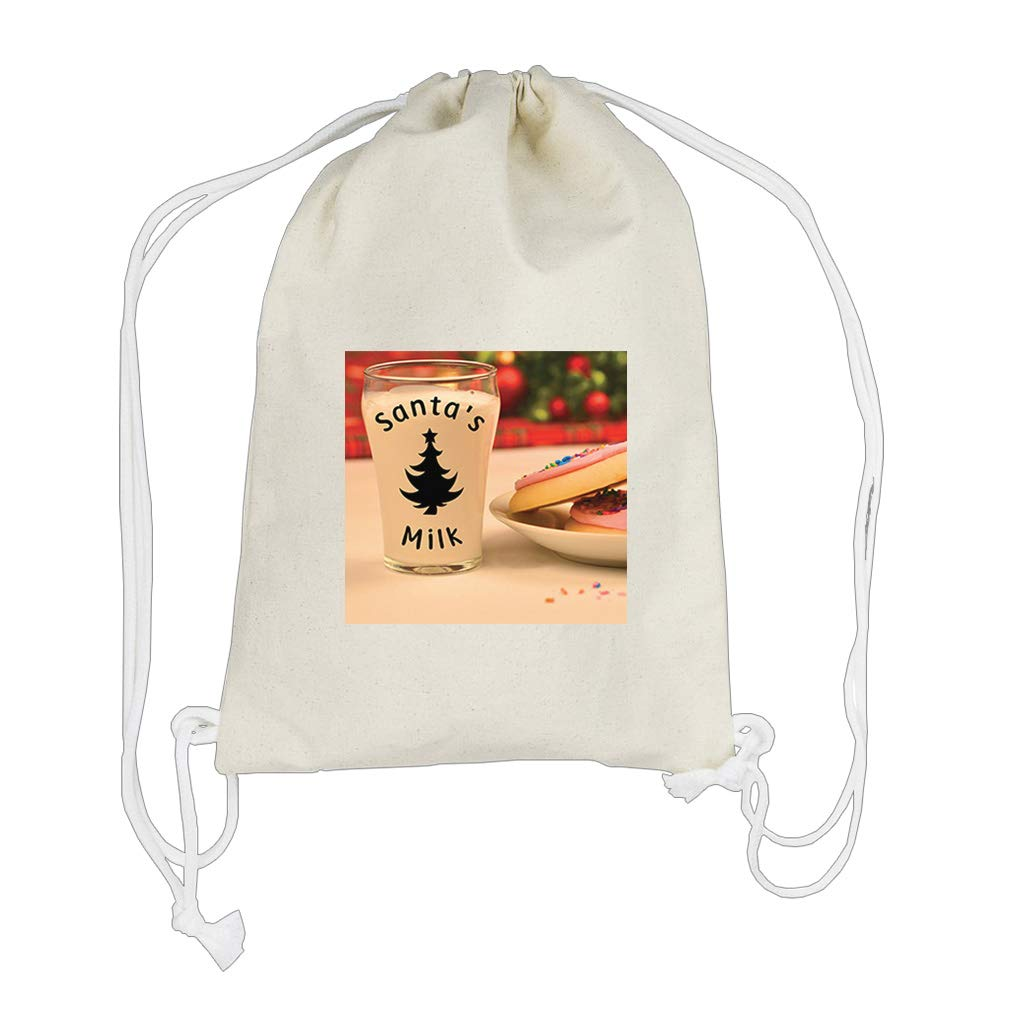 Glass Milk and Cookies #2 Cotton Canvas Boys-Girls Backpack Drawstring Bag