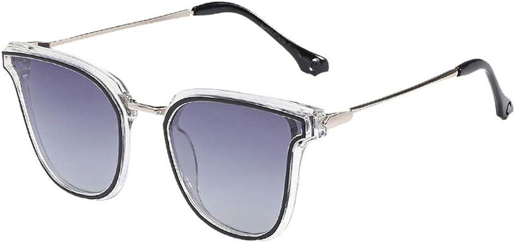 waotier Gafas de sol con forma de ojo de gato Gafas de sol unisex de colores polarizados con película de color Marco de metal Protección UV Gris Azul