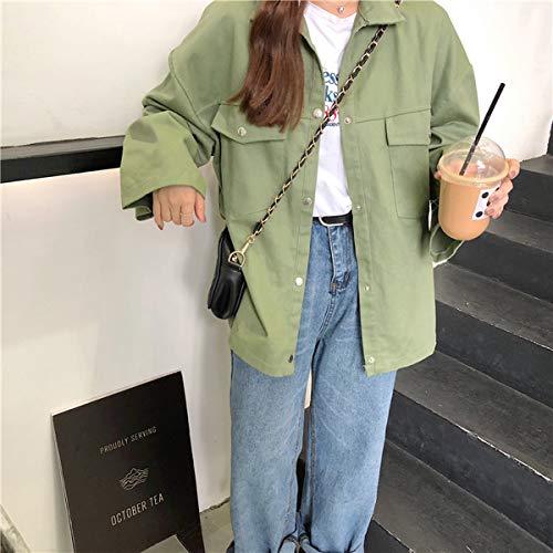 A Jacket Primavera Lunga Sciolto Outerwear Vento Autunno Risvolto Giacca Oufour Cime Verde Manica Cappotto Tops Coat Casual Giacche Donne HwzxZdqBdP