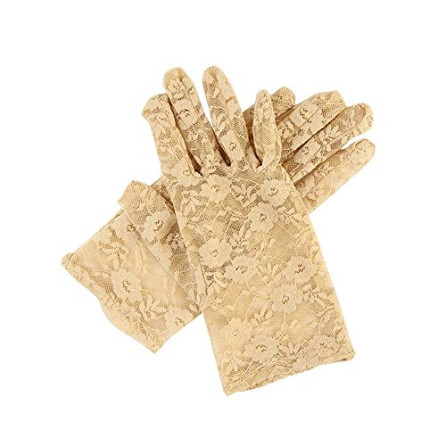 EachWell Vintage Women's Sheer Floral Lace Gloves for Wedding(3 Length) Length:9