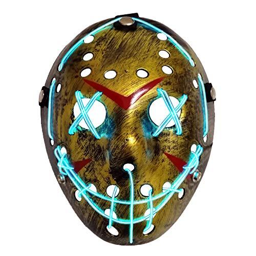 AUHOO Light up Purge Mask LED Jason Mask Halloween Scary Mask Rave Halloween Costumes (Bronze)
