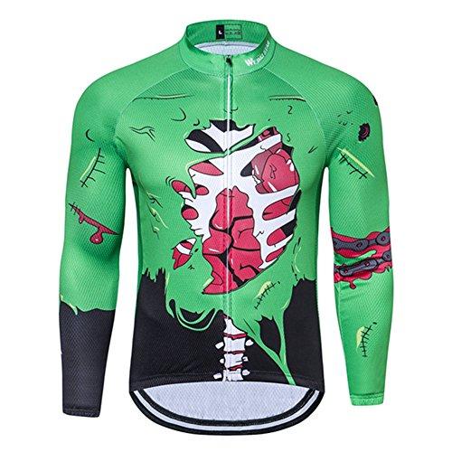 Men's Cycling Jersey Long Sleeve MTB Clothing Bike Shirts Zombie Halloween Size XL ()