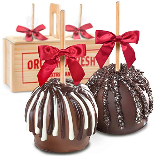 ilk and Dark Decadence Chocolate Dipped Caramel Apples In Wooden Gift Crate, Summer Shipping ()