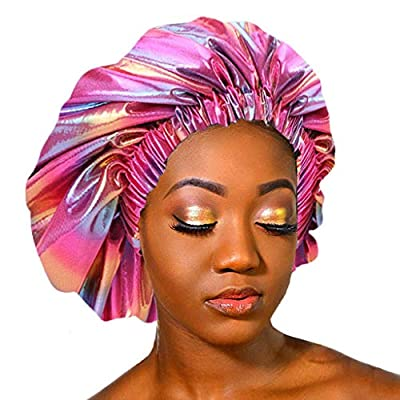 Satin Lined Bonnet Silky Sleep Cap Adjustable Satin Cap for Night Sleeping Hair Reversible Double Layer Hat: Grocery & Gourmet Food