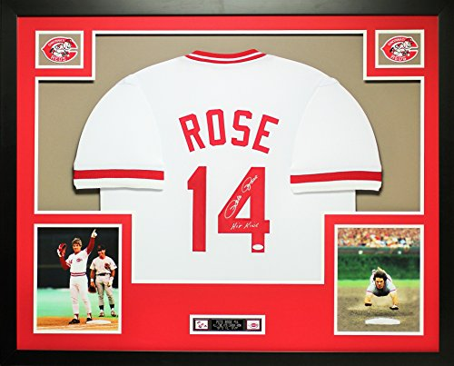 (Pete Rose Autographed White Reds Jersey - Beautifully Matted and Framed - Hand Signed By Pete Rose and Certified Authentic by JSA COA - Includes Certificate of Authenticity)