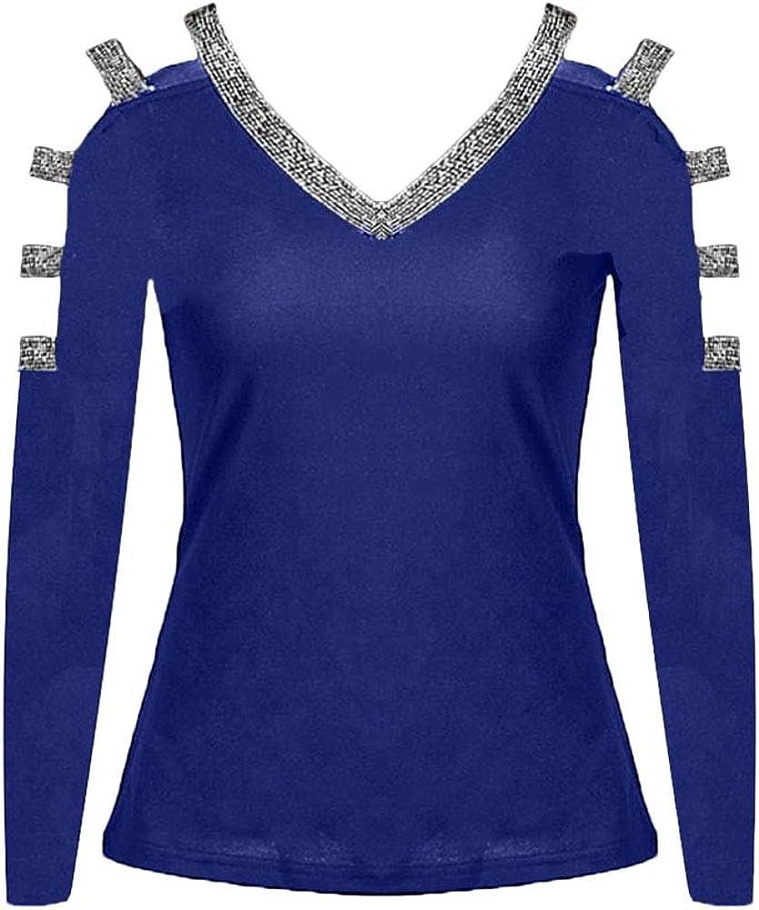 Minetom Mujer Camiseta Casual Color Sólido Manga Larga De Lentejuelas Mangas con Cuello En V Blusa Tops Camisa De Hombro Frío Azul 34: Amazon.es: Ropa y accesorios