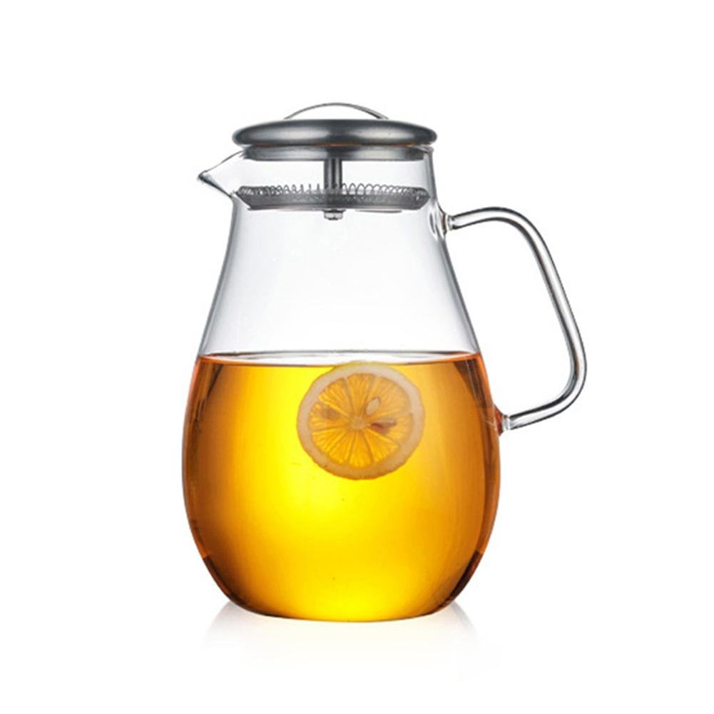 Anna-neek Boqo Glass Water Jug Borosilicate and Stainless Steel Removable Lid Heat Resistant for Juice Coffee and Tea 1.9 L