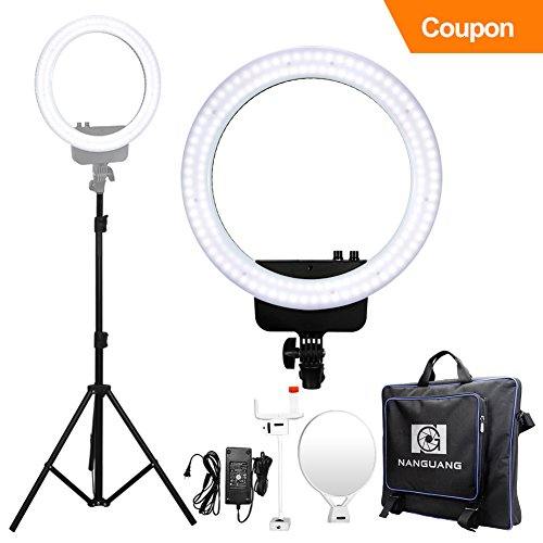 "Nanguang LED Dimmable Ring Light 16"" Bi-color LED Ring Light with Stand,Cellphone Holder,Mirror for Make Up,Youtube Video,Wedding,Live Streaming,Portrait Photography and Selfie Cyber Monday by NanGuang"