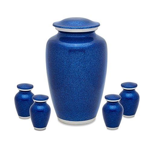 Blue Pearl Adult Urn with 4 matching keepsake token urns