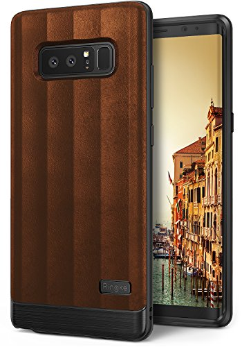 Ringke [Flex S Compatible with Galaxy Note 8 Case Modern Elite Textured PU Leather Style, Flexible TPU, Shock Protection, Durable Professional Stylish Case for Note8 - Brown