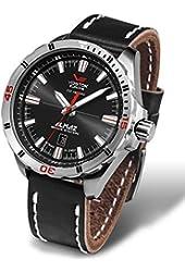 Vostok Europe Almaz Men's Analog 24J Automatic Black Leather Strap Watch NH35A/320A258