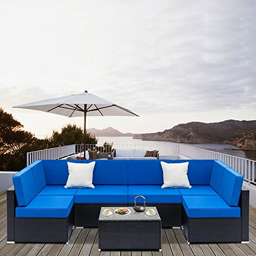 Cypress Shop Outdoor Patio Rattan Wicker Furniture Sectional Sofa Set Soft Blue Cushioned Seat Coffee Table Armless Chairs Single Sofa Garden Backyard Deck Home Furniture Set of 7