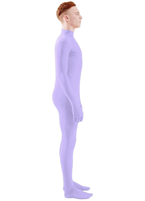 Ensnovo Mens Mock Neck Full Body Unitard Spandex Zentai Suits Costumes