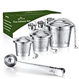 ME.FAN Tea Infuser Set - Premium Stainless Steel Tea Strainers - Included Loose Leaf Tea Filters (Set of 3)& Tea Scoop with Bag Clip - Best Gift for Tea Lover