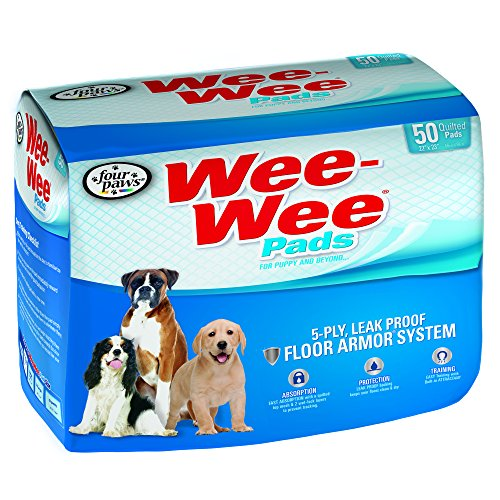 Four Paws Wee-Wee Dog Training Pads, 50-Pack (Training Plastic Pad)