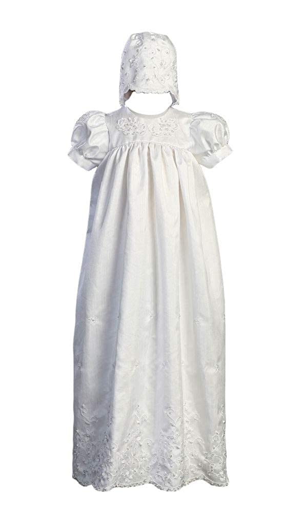 Long White Embroidered Shantung Christening Baptism Gown with Matching Bonnet