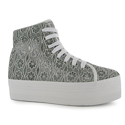 Jeffrey Campbell Play hOMG Lace Platform Shoes Womens Grey Trainers Sneakers CPXeqyCva3