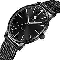 Mens Simple Slim Watch Analog Quartz Waterproof Black Stainless Steel Mesh Band Thin Casual Dress Wrist Watches for Men
