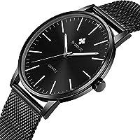 Simple Slim Mens Watch Analog Quartz Waterproof Black Stainless Steel Mesh Band Thin Casual Dress Wrist Watches for Men