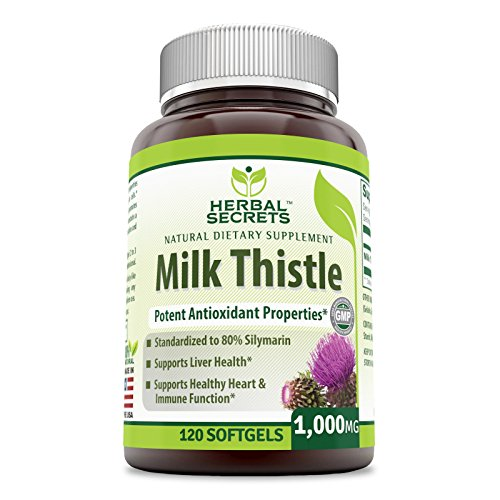 Herbal Secrets Milk Thistle - 1,000mg Milk Thistle - Standardized to Contain 80% Silymarin per capsule - Supports Healthy Liver Function and Detoxification- 120 Softgels per container