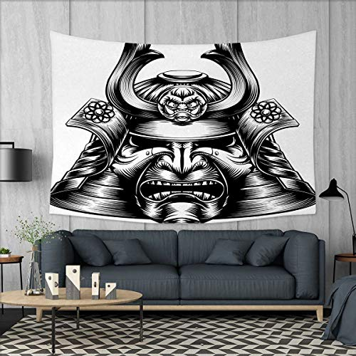 Anniutwo Japanese Large tablecloths Vintage Style Oriental Themed Demon Samurai Mask Eastern Style Martial Art Print Wall Hanging Tapestries W84 x L54 (inch) Black White by Anniutwo