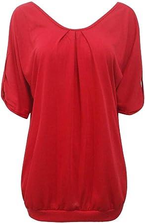 Mujer Verano Mangas Cortas Suelta Tops Blusa Informal Solid T Shirt Fiesta Vestido De La Tapa