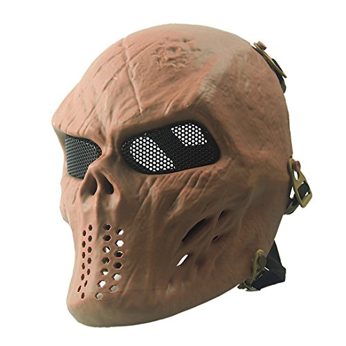 Annay Airsoft Mask Full Face Masks Skull Skeleton with Metal Mesh Eye Protection Army Tactical Mask for Halloween Airsoft BB Paintball Gun CS Game Cosplay and Masquerade Party TAN ()