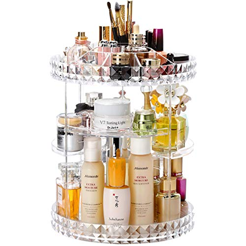 Cq acrylic 360 Degree Rotating Makeup Organizer, Adjustable Acrylic Carousel Cosmetic Display Storage for Vanity, Bathroom, Countertop and Dresser ()