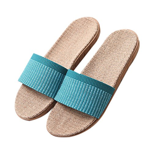 Odor Summer Floor Slippers Flax women Home and Suction Sweat blue Men Home Slippers Linen Couples TELLW Slippers Beach Proof Slippers Women Indoor wIaq0nH