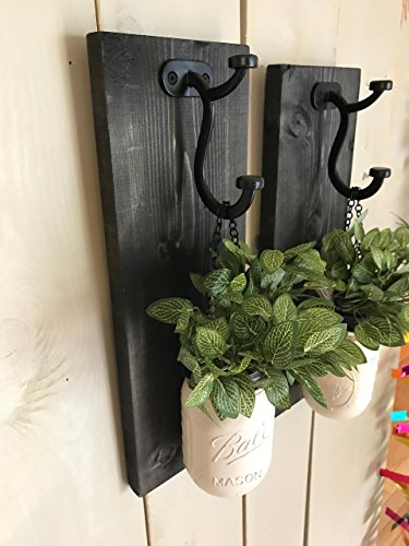 Floral Sconce (Rustic Wood Wall Sconce, Wood Wall Sconce with Flowers, Floral Wall Sconce Set, Mason Jar Wall Sconce)