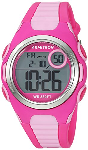 Armitron Sport Women's 45/7076MAG Digital Chronograph Light Pink and Magenta Resin Strap Watch