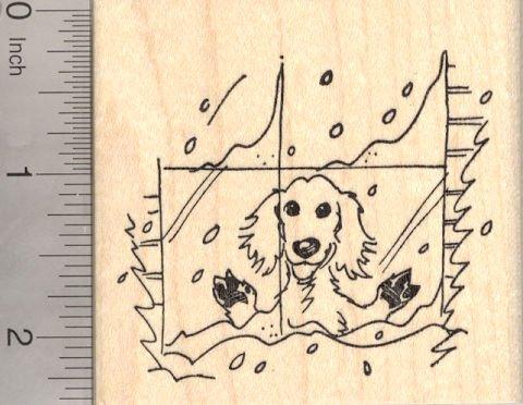 Dog in Winter Window Rubber Stamp, Golden Retriever