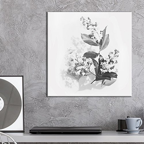 Square Flowers and Leaves in Black and White
