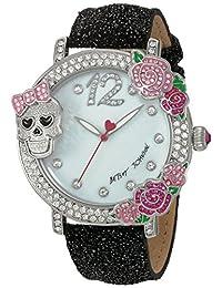 Betsey Johnson Women's BJ00595-02 Skull and Rose Bezel Watch