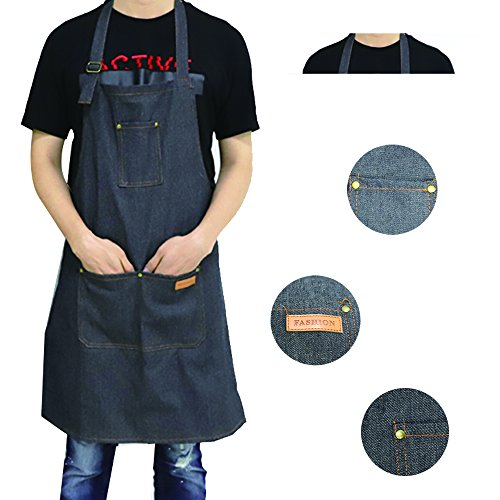 EQ Apron Waterdrop Resistant with 3 Pockets Cooking Kitchen Aprons for Women Men Chef,Black by EQ (Image #2)