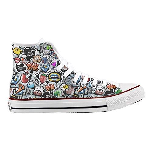 Alta Personalizzate Graffiti All Converse Scarpe Sneakers Star Stampa 5IBzxqwa