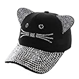 SP Sophia Collection Women's Stylish Rhinestone Adjustable Strap Cat Ears Cap Casual Summer Trendy Cap (Black)