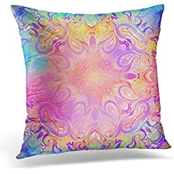 Breezat Throw Pillow Cover Kaleidoscopic Mandala Inspired Beautiful Vintage Psychedelic Neon Composition Indian Buddhism Spiritual Decorative Pillow Case Home Decor Square 20x20 Inches Pillowcase