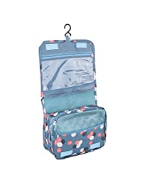 Yosoo Unisex Travel Cosmetic Bag Waterproof Wash Toiletry Storage Case Folding Hanging bag holder ( Color : Blue Flower )