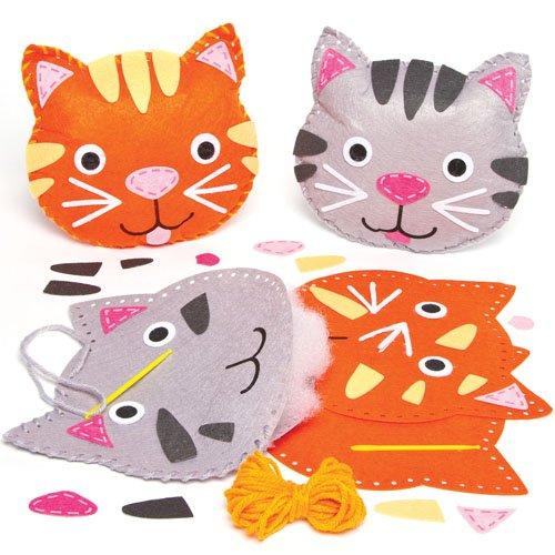 Baker Ross Kits de Costura de Cojines de Gatos de Fieltro Que los niños Pueden Crear, Decorar y exhibir como Manualidades veraniegas (Pack de 2).