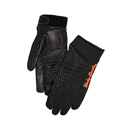 Harley-Davidson Official Women's Osminda Mesh & Leather Gloves, Black (Large)