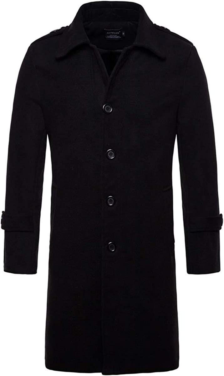 Fensajomon Mens Single Breasted Solid Color Longline Fall Winter Wool Blend Trench Pea Coat Overcoat