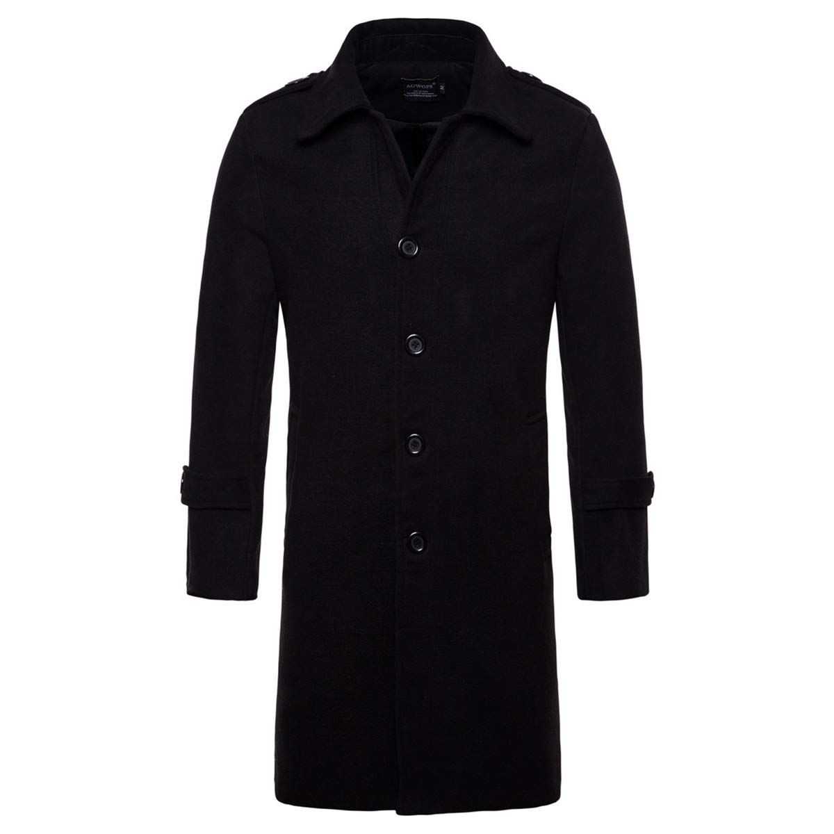 AOWOFS Men's Mid Long Wool Woolen Pea Coat Single Breasted Overcoat Winter Trench Coat Black by AOWOFS