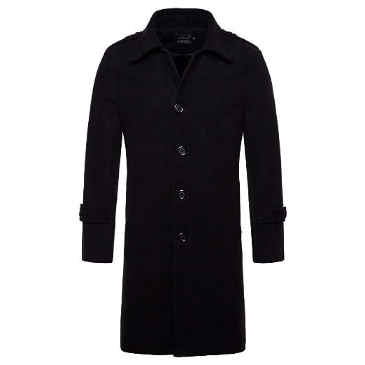 de9e0ca9d0b AOWOFS Men s Mid Long Wool Woolen Pea Coat Single Breasted Overcoat Winter  Trench Coat Black