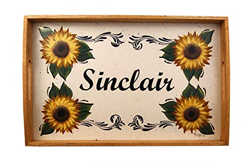 Sunflower Serving Tray, Coffee Table Tray, Personalized Serving Tray, Autumn Decor, Tole Painted Tray, Oak Wooden Tray, Decorative Tray, Oak Tray, Hand Painted Tray