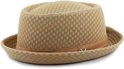 1e08bab8c78 THE HAT DEPOT Unisex Light Weight Classic Soft Cool Mesh Pork Pie Hat