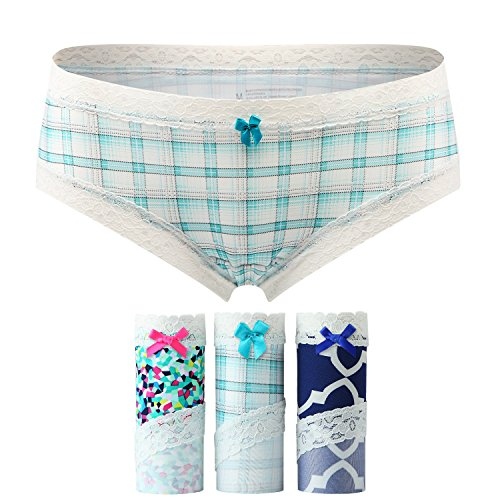 Women's 3 Pack Lace Microfiber Hipster Panty Sexy Fashion Soft Hiphugger panties (Soft Hip Hugger)