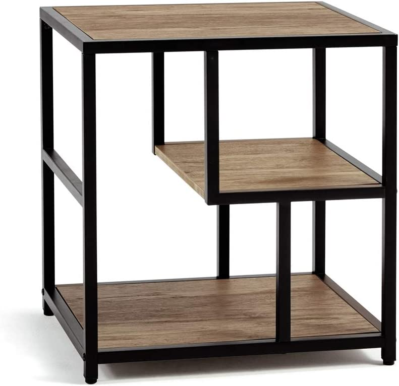 Linsy Home Industrial Side Table, 3-Tier End Table with Storage Shelf, Wood Look with Metal Frame, LS209J1-A