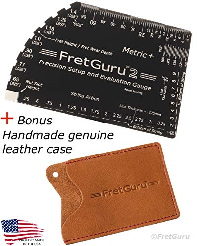 FretGuru METRIC+ String Action Gauge Guitar Ruler 8-in-1 Fret Rocker Luthier Tool guitarist musician gift #BONUS LEATHER CASE# precision CNC Machined, Diamond Honed, Polished Edge = NO SCRATCHED FRETS